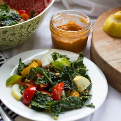 Tomatoes Galore Kale Salad with Tomato Basil Vinegairette