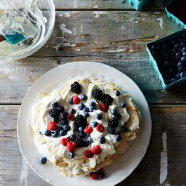 Crunchy Almond Butter Meringue with Berries and Cream