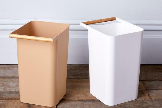 Wood-Handled Minimal Trash Cans (Set of 2)
