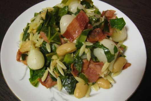 Cannellini Kale Concocktion with Turkey Bacon and Orzo