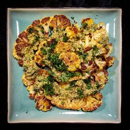 Brined Roasted Cauliflower with Pistachio Pistou