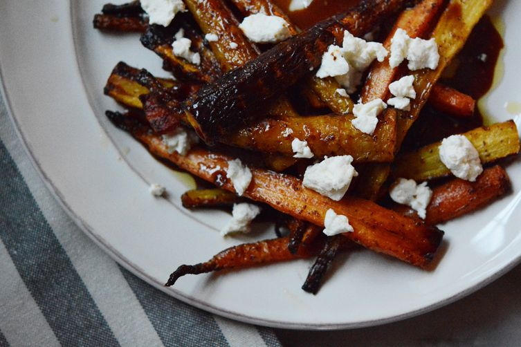 Roasted Carrots with Balsamic + Maple Syrup Reduction