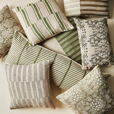 Hand-Blocked Green & Natural Throw Pillows