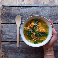 Mashed Sweet Potato and Kale Soup