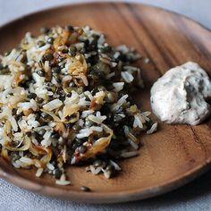 Mujaddara + Eggplant Dip with Yogurt