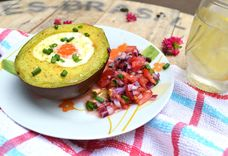 Baked Eggs Inside Avocado With Tomato Relish