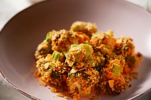 Almond Battered Broccoli Tots with Gochujang Sauce