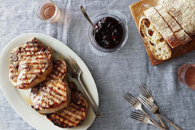 Simple Summer Pork Chops with Balsamic-Pepper Plum Reduction and Fresh Thyme