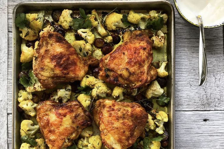 Sheet Pan Curried Chicken with Cauliflower and Grapes