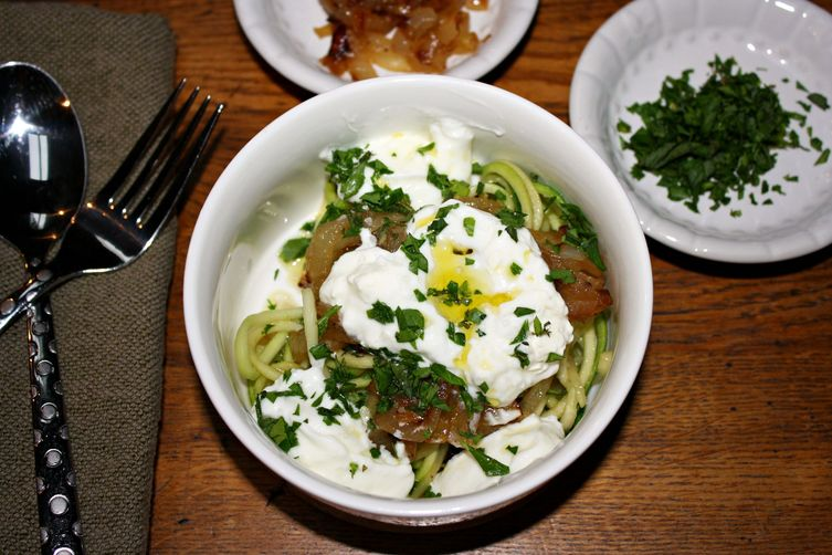Zucchini Pasta With Creamy Yogurt And Caramelized Onions