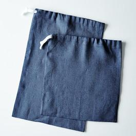 Navy Linen Bread Bags (Set of 2)
