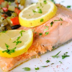 Steamed Salmon with Lemon Scented Zucchini