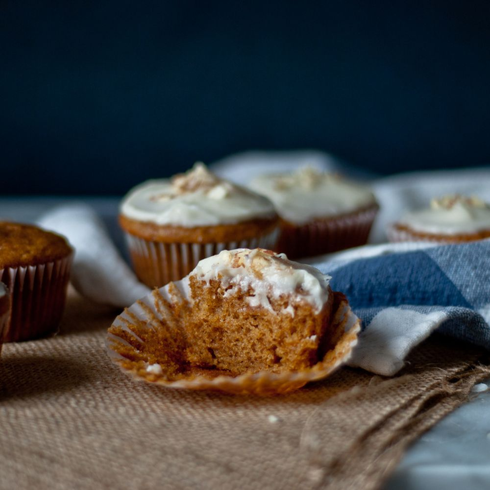 Pumpkin Cupcakes With Maple Cream Cheese Frosting, Half