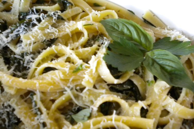 Pasta with Green Herbs, Greens and Garlic from My Garden Recipe on ...