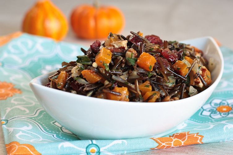Wild Rice with Butternut Squash, Cranberries and Pecans