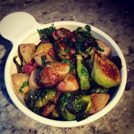 Roasted Brussels Sprouts with Pear, Pancetta, Meyer Lemon, and Chili
