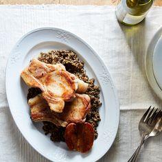 Roasted Pork Chops with Apples & Lentils