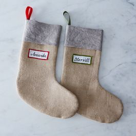 Personalized Linen and Burlap Christmas Stocking