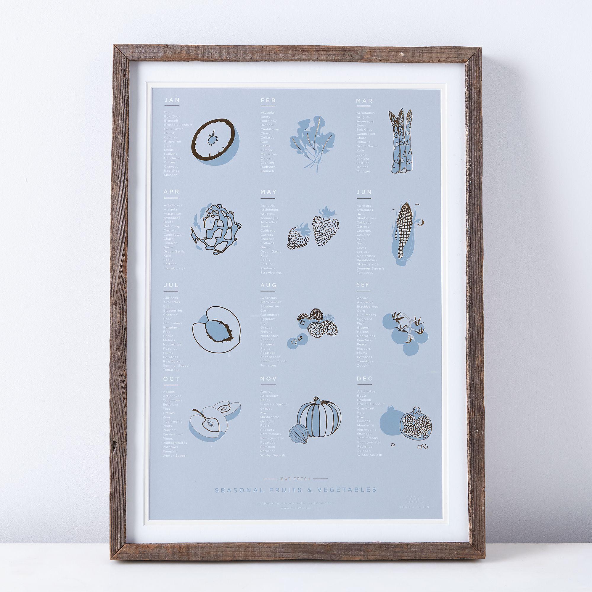 Framed Seasonal Fruit & Vegetable Print - 16