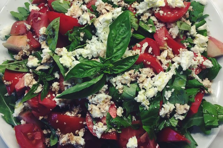 Tomato, Nectarine, Feta and Basil Summer Salad