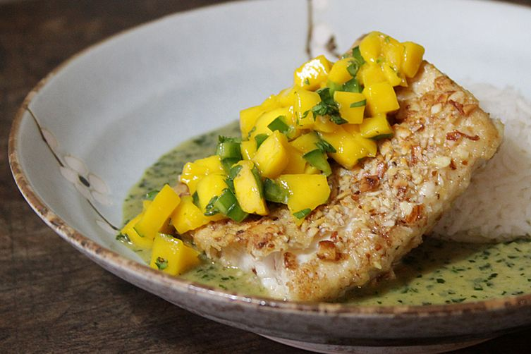 Almond Crusted Mahi Mahi with Coconut Basil Sauce Recipe ...