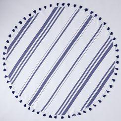 Round Striped Turkish Cotton Beach Throw with Tassels