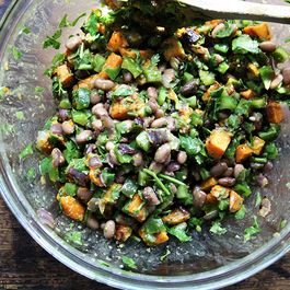 Roasted Sweet Potato and Black Bean Salad with Chile Dressing
