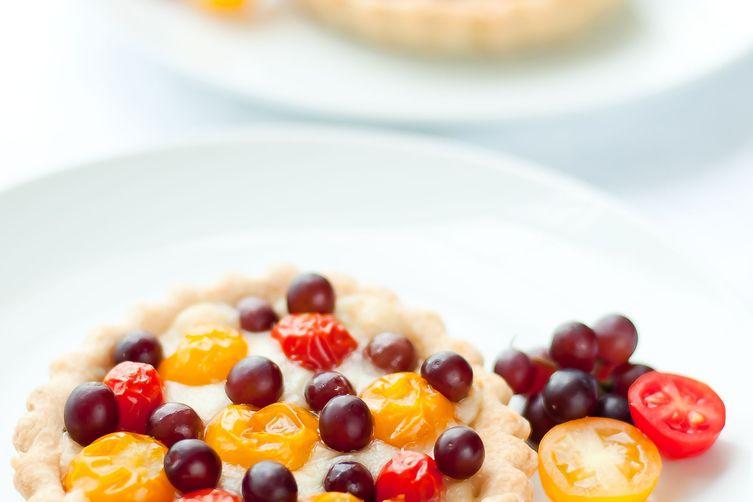 Cherry Tomato and Champagne Grape Tart