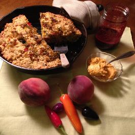 Farmers Market Skillet Bread with Tomato Butter and Blackberry Peach Quick Jam