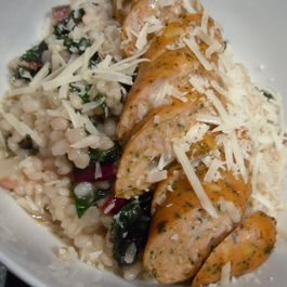 Rainbow Chard Barley Risotto with Chicken Sausage