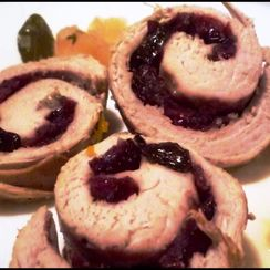 Filled pork with cranberries and apple cider sauce