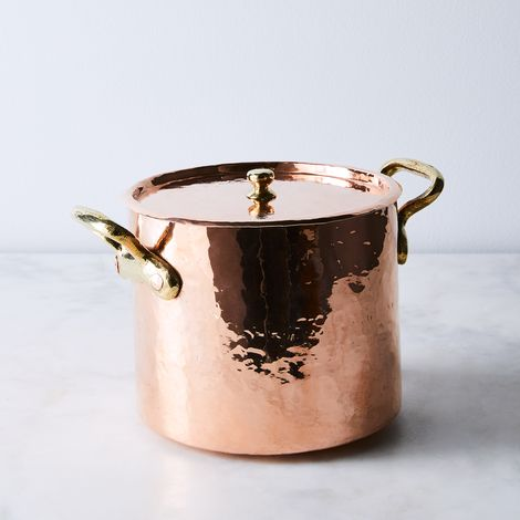Vintage Copper French Traditional Hand Hammered Stockpot, Late 19th Century