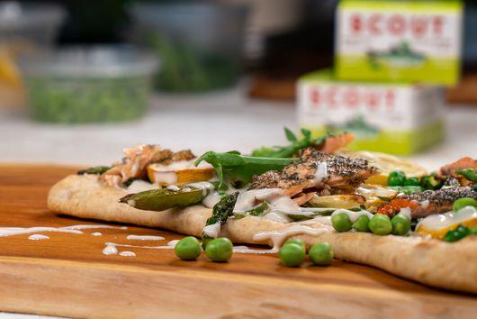 Trout Flatbread with Asparagus, Peas & Lemon