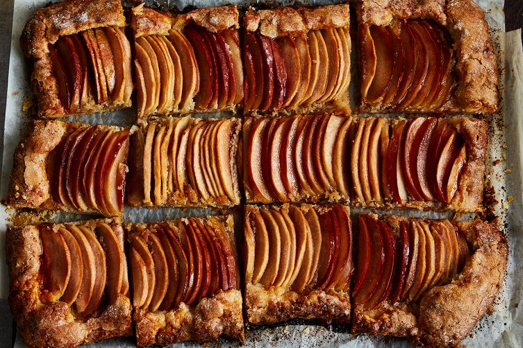 Apple Galette with Tahini Frangipane & Honey-Hibiscus Glaze