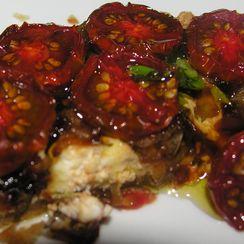Black cherry tomato tart