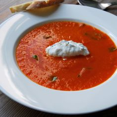 Tomato Soup with Tyrolean Goat Cheese Dumplings