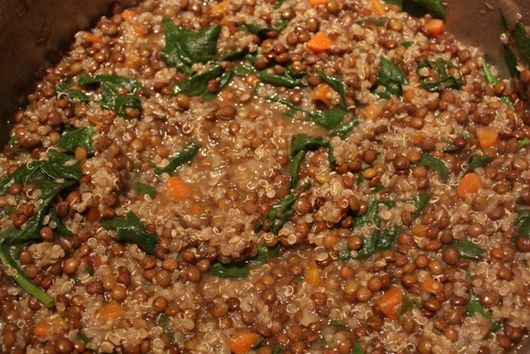 Thick Lentil Soup with Quinoa and Spinach