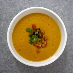"Ethiopian Spiced Chickpea Soup with Chickpea ""Croutons"""