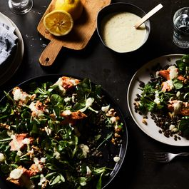 A Hearty Salmon and Lentil Salad Featuring Two Genius Techniques