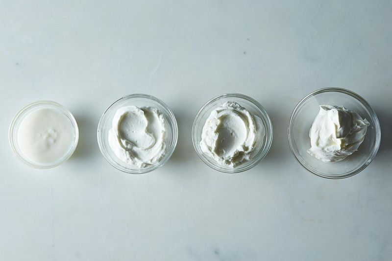 From left: Regular full-fat yogurt, Greek yogurt, skyr, and labneh.