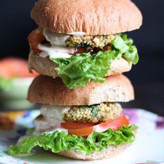 Baked Quinoa Burgers + Lemon Tahini Sauce