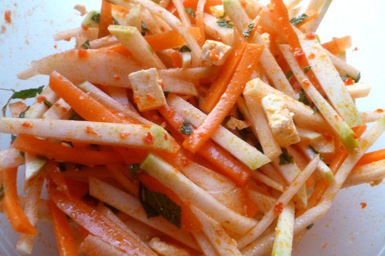Kohlrabi and Carrot Salad with Harissa