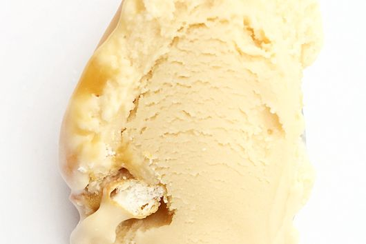 Salted pretzel caramel ripple caramel ice cream