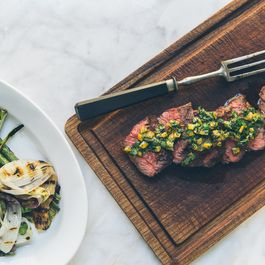 Hanger Steaks with Asparagus, Spring Onions and Preserved Lemon Relish
