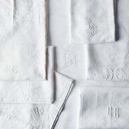 Vintage White Monogrammed French Napkins