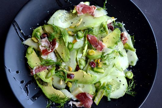 Chic Cucumber, avocado and asparagus salad with a twist