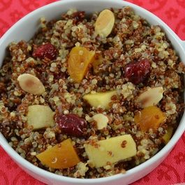 Cinnamon Maple Quinoa with Roasted Apples, Dried Fruit and Toasted Almonds