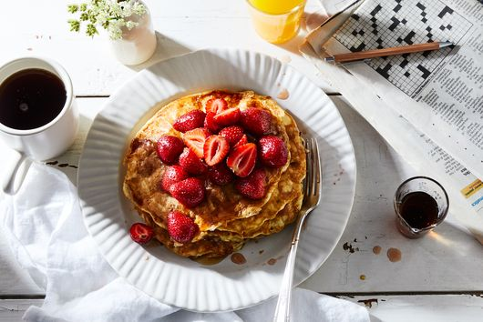 Cottage Cheese Pancakes With Strawberry Maple Syrup