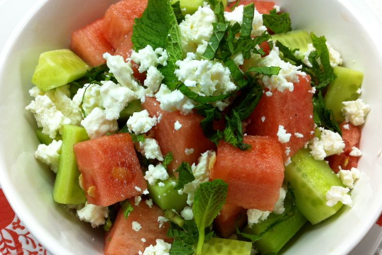 summer watermelon & cucumber salad with feta cheese