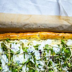 Spring Asparagus Tart with Feta and Microgreens